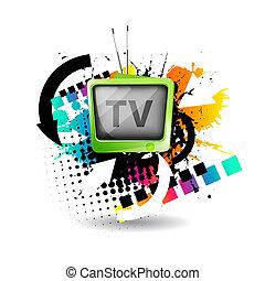 tv, carino, vettore, retro
