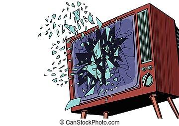 tv, cassé, écran, explose