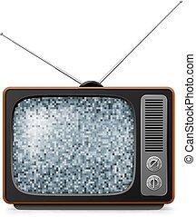 tv, cassé, retro