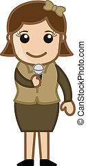 tv, chanteur, -, ancre, dessin animé