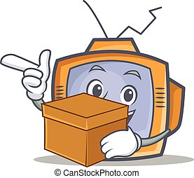 TV character cartoon object with box