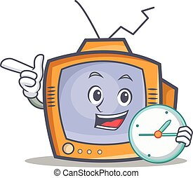 TV character cartoon object with clock
