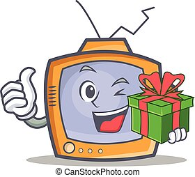 TV character cartoon object with gift