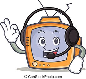 TV character cartoon object with headphone