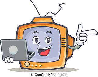 TV character cartoon object with laptop