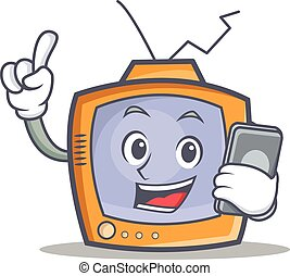 TV character cartoon object with phone