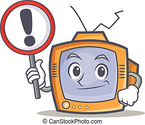 TV character cartoon object with sign