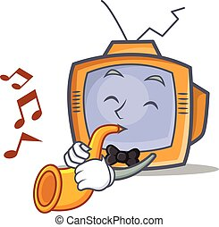 TV character cartoon object with trumpet