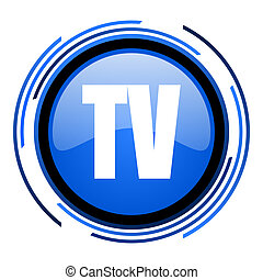 tv circle blue glossy icon