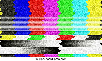 TV Color Bars Malfunction - Retro TV color bars with TV snow...