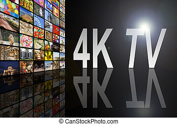 tv, conceito, 4k