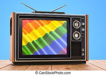 tv, concept, 3d, gay, rendre