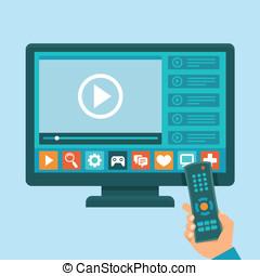 tv, concept, intelligent, vecteur