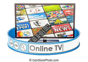 tv, concept, ligne, rendre, 3d