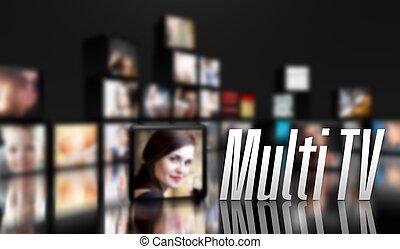 tv, concept, multi, panneaux, lcd