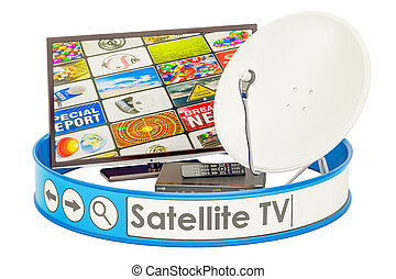 tv, concept, satellite, 3d, rendre