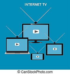 tv, concept, vecteur, internet