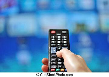 tv, controle, remoto, apontar, mão