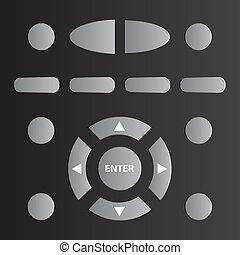 tv, controle, vector, ver