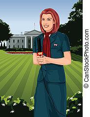 TV Correspondent - Vector illustration of a female TV...
