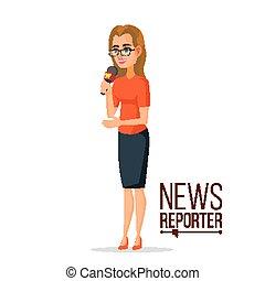 tv, correspondente, vector., jornalista, woman., repórter...