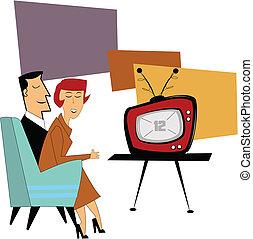 tv, coupe, schouwend