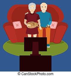 tv, couple, montre, personnes agées