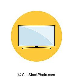 tv, courbé, mené, intelligent, icône