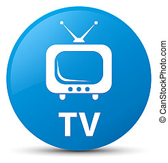 TV cyan blue round button