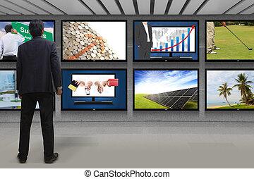 tv, dall'aspetto, schermo, uomo affari