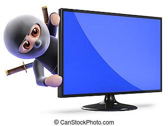 tv, derrière, lcd, ninja, assassin, dissimulation, 3d