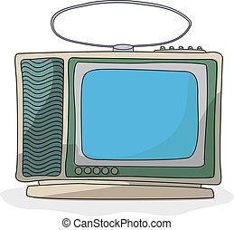 tv, dessin animé, ensemble, retro