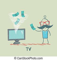 tv, dinheiro, leva, homem
