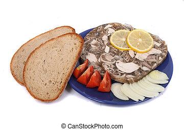 tv dinner - czech recepture of meat (pig) with lemon slices