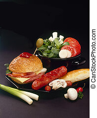 Hamburger and sausage with miscellaneous vegetable