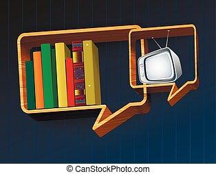 tv, discussione, libro, o