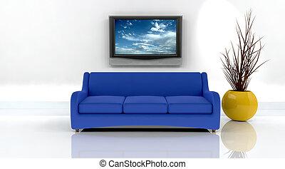 tv, divano, render, 3d