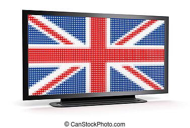 tv, drapeau, britannique
