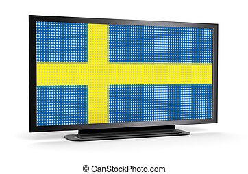 tv, drapeau suédois