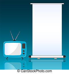 tv, e, role cima, ligado, experiência azul, ilustração