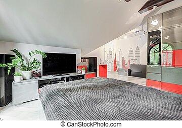 tv, elegáns, modern, hálószoba