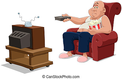 TV - The man in an armchair watches TV