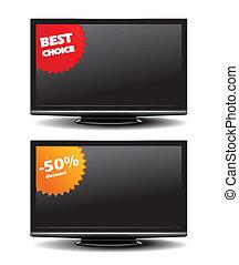 tv, escompte, autocollant, widescreen