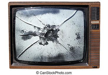 tv, esmagado, antigas, screen., trashed