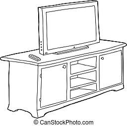 tv, esquissé, cabinet