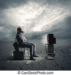 tv, essence, homme affaires, masque, regarder