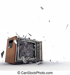tv exploding isolated on white background
