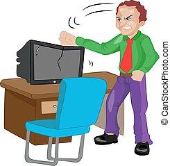 tv, fâché, martèlement, illustration, homme