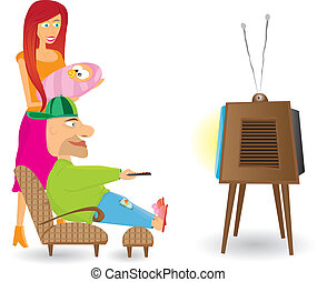 tv., famille, regarder