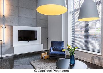 tv, fauteuil, salle